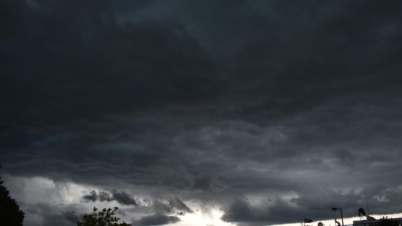 Threatening storm clouds develop over Gympie on Friday, December 13.