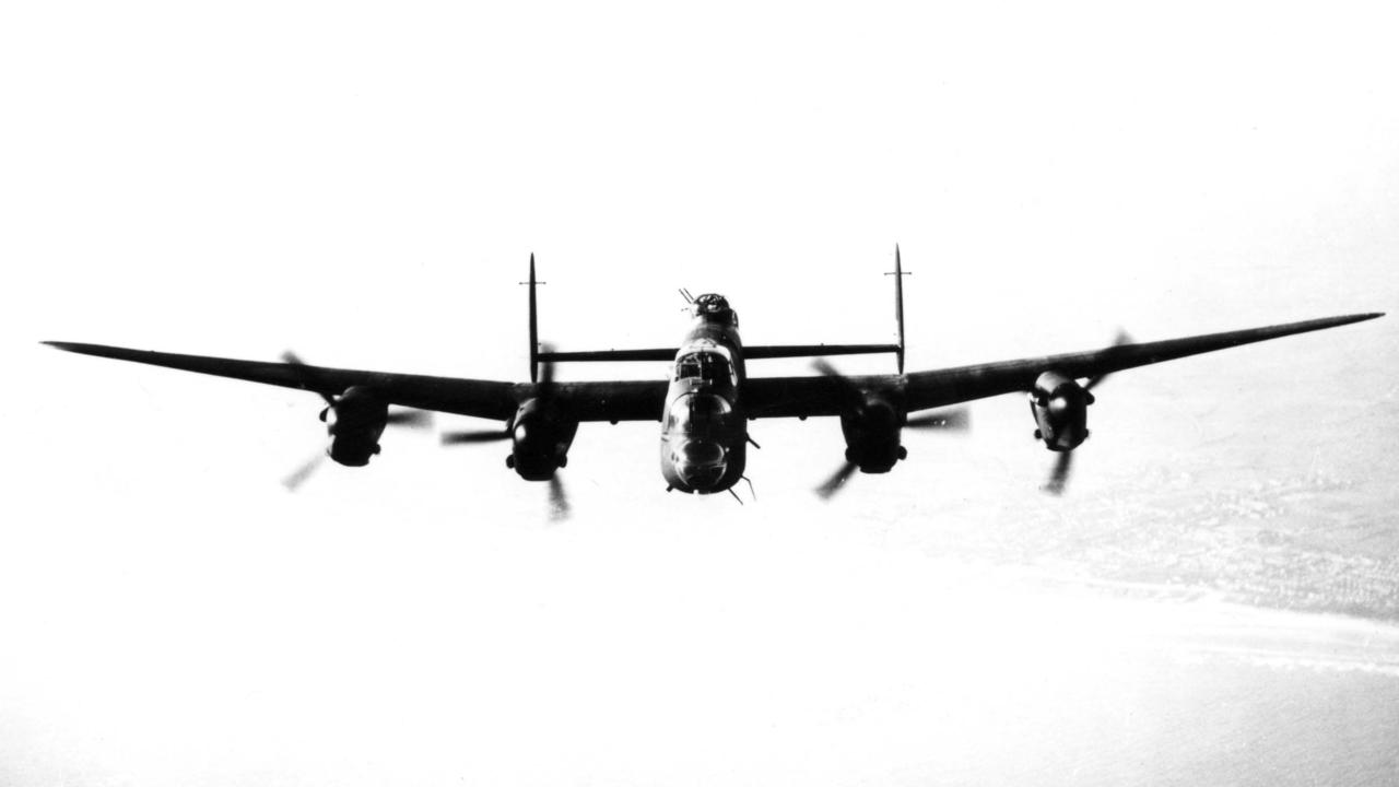 A Lancaster bomber of 463 or 467 Squadron RAAF over England in 1945. Deep caption