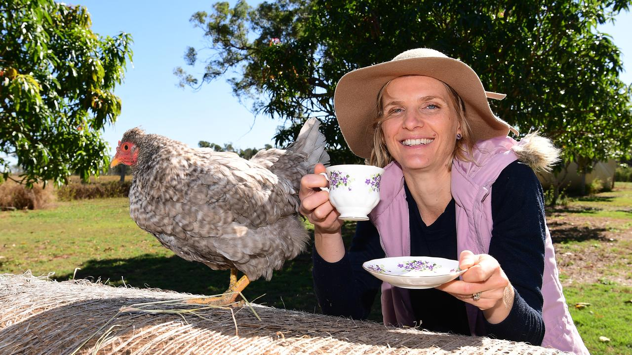 Sara Pardon with Silkie the chook. Sara has a tea making business called Ettie and Dorrie.
