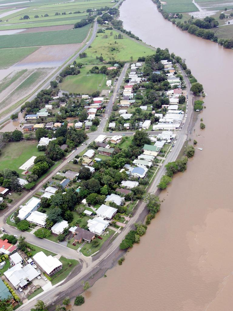Aerial photos of areas affected by flood waters after torrential rain in 2017. The township of Tumbulgum.
