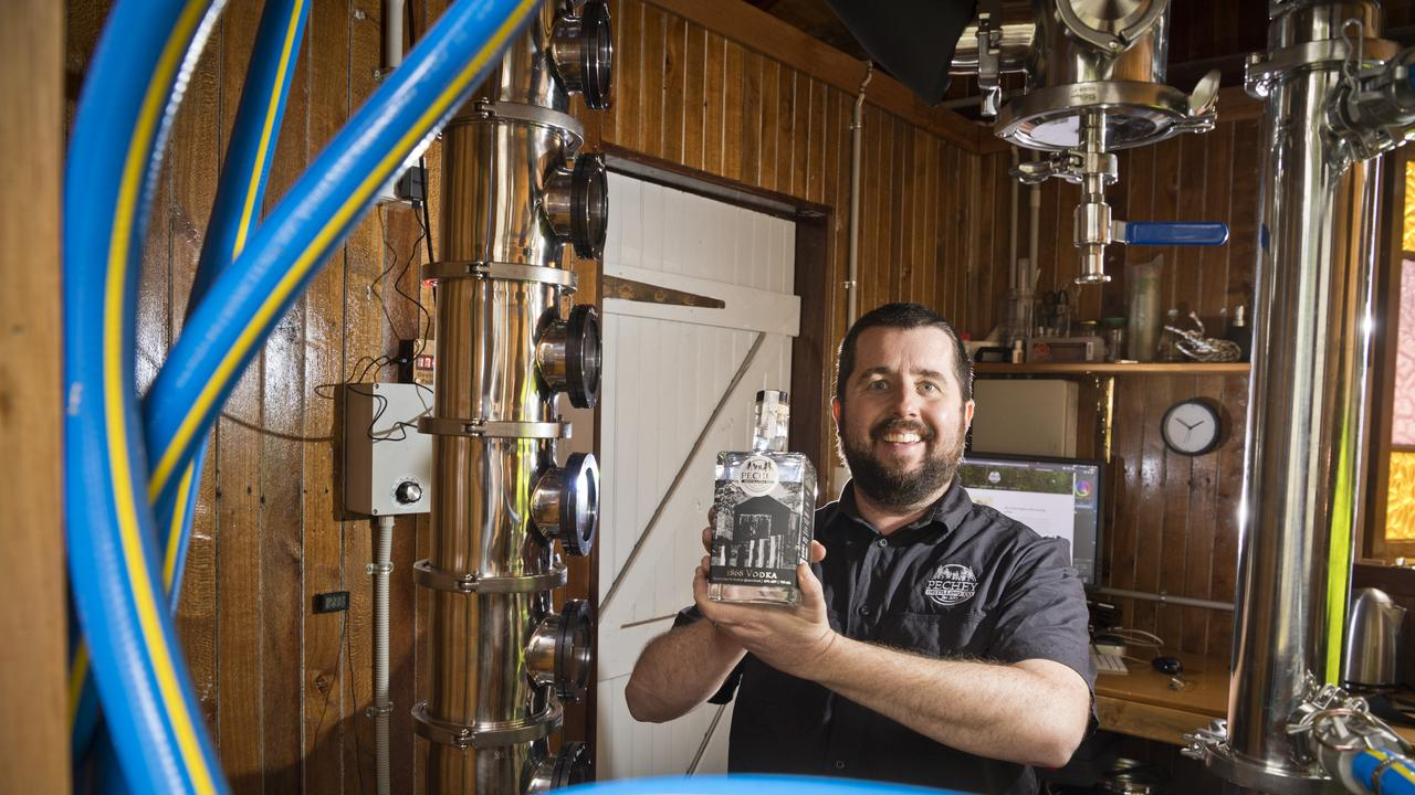Pechey Distilling Co chief distiller Ben Pechey-O'Brien launches their 1868 Vodka, Friday, July 10, 2020. Picture: Kevin Farmer
