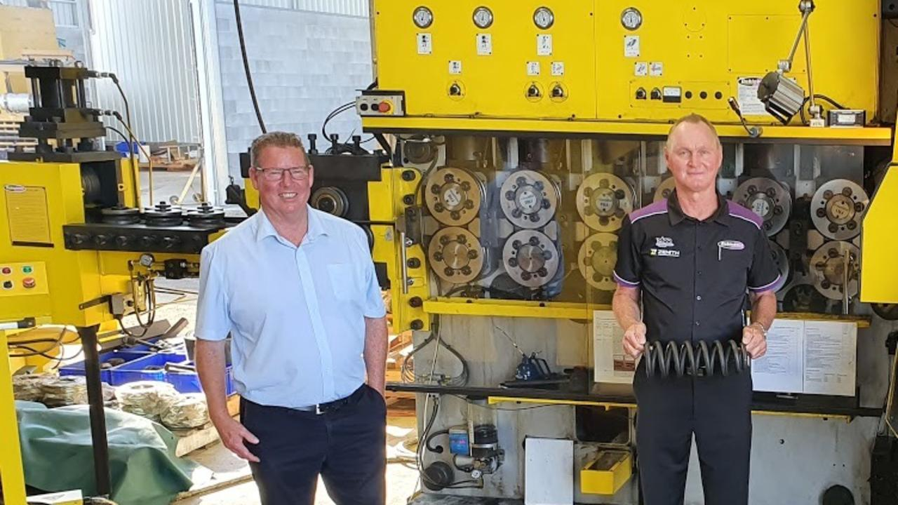 MANUFACTURING DEBATE: Rockhampton MP Barry O'Rourke (left) has defended his government against LNP criticism that they weren't doing enough to support local manufacturers like Dobinsons Spring and Suspension owner Glen Dobinson.
