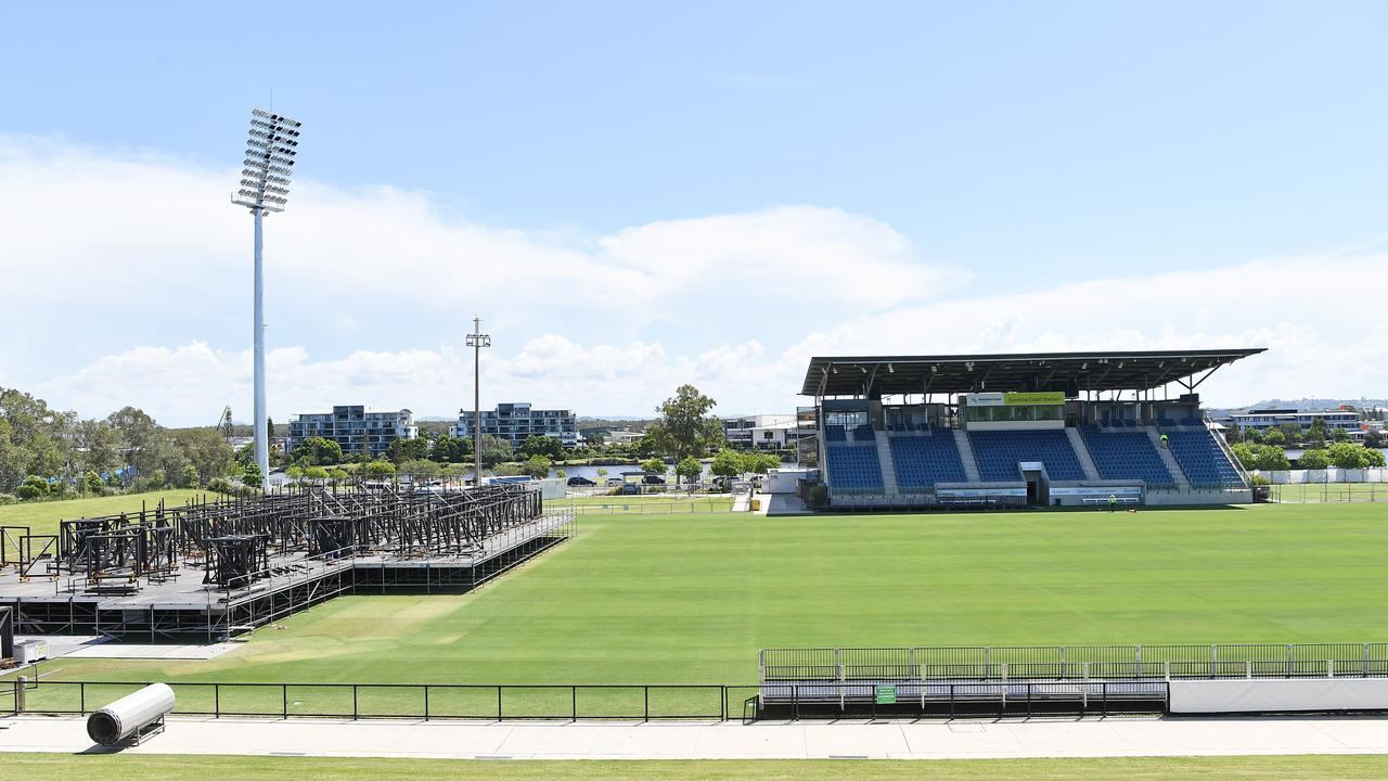 A massive effort was underway at the Sunshine Coast Stadium to prepare for two Elton John concerts in March. Photo: Patrick Woods