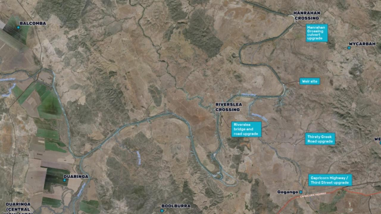 ROOKWOOD MAP: These are the main features of the Rookwood Weir project which is situated on the Fitzroy River, approximately 66km southwest of Rockhampton.