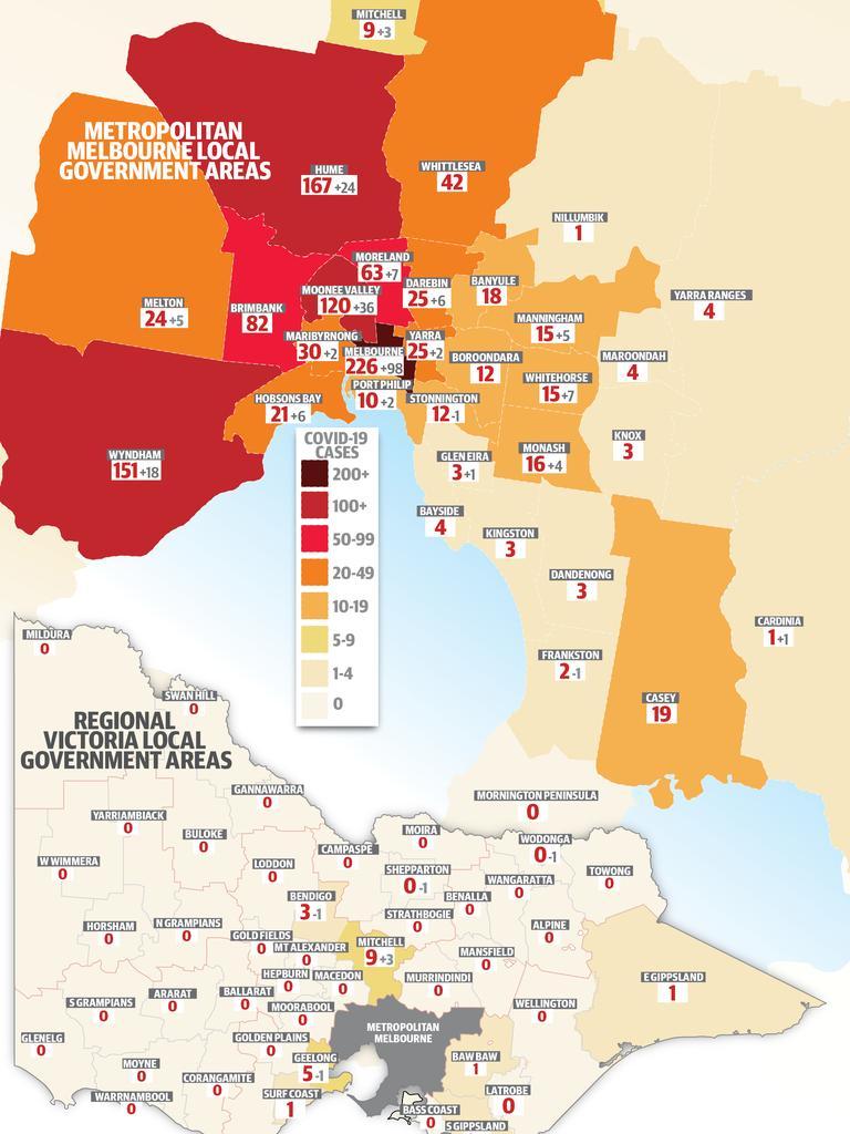 Melbourne coronavirus map July 10