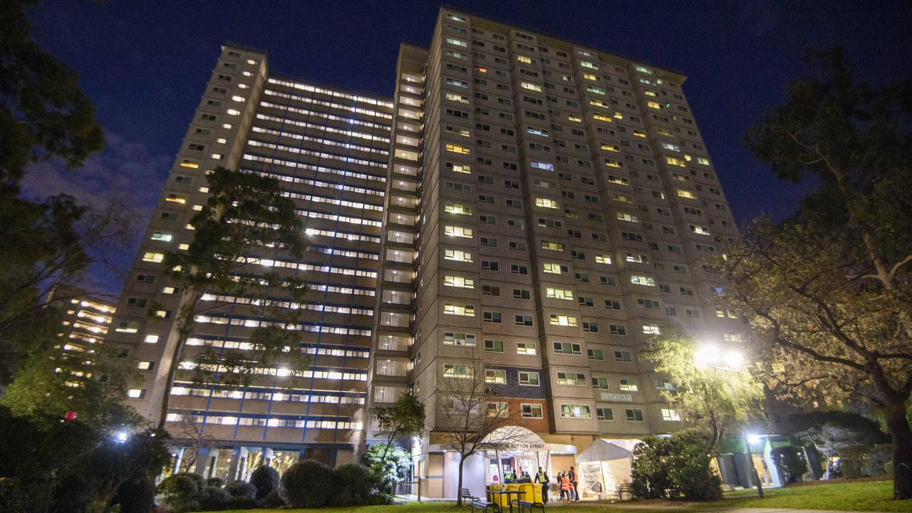 One of nine public housing towers placed in hard lockdown on Saturday. Picture: Jay Town