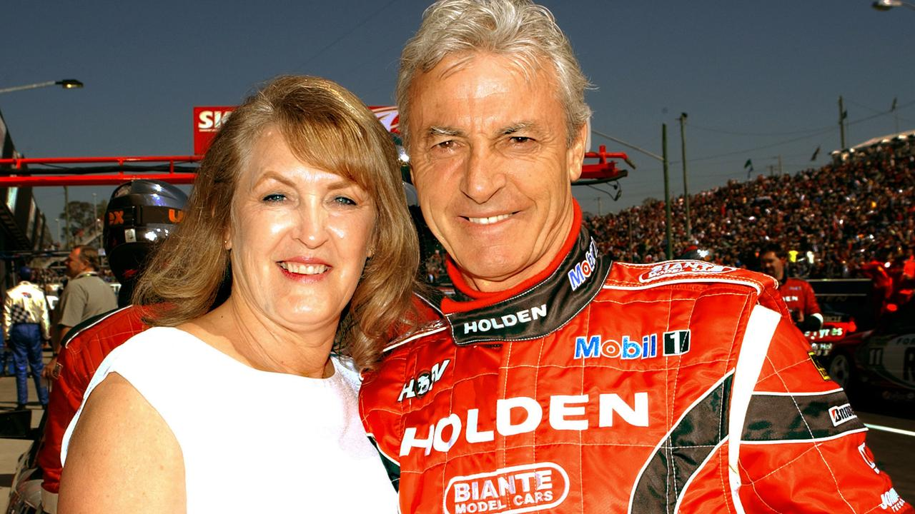 Peter Brock with his then wife Bev during his last V8 Supercar race in Bathurst. Picture: AFP