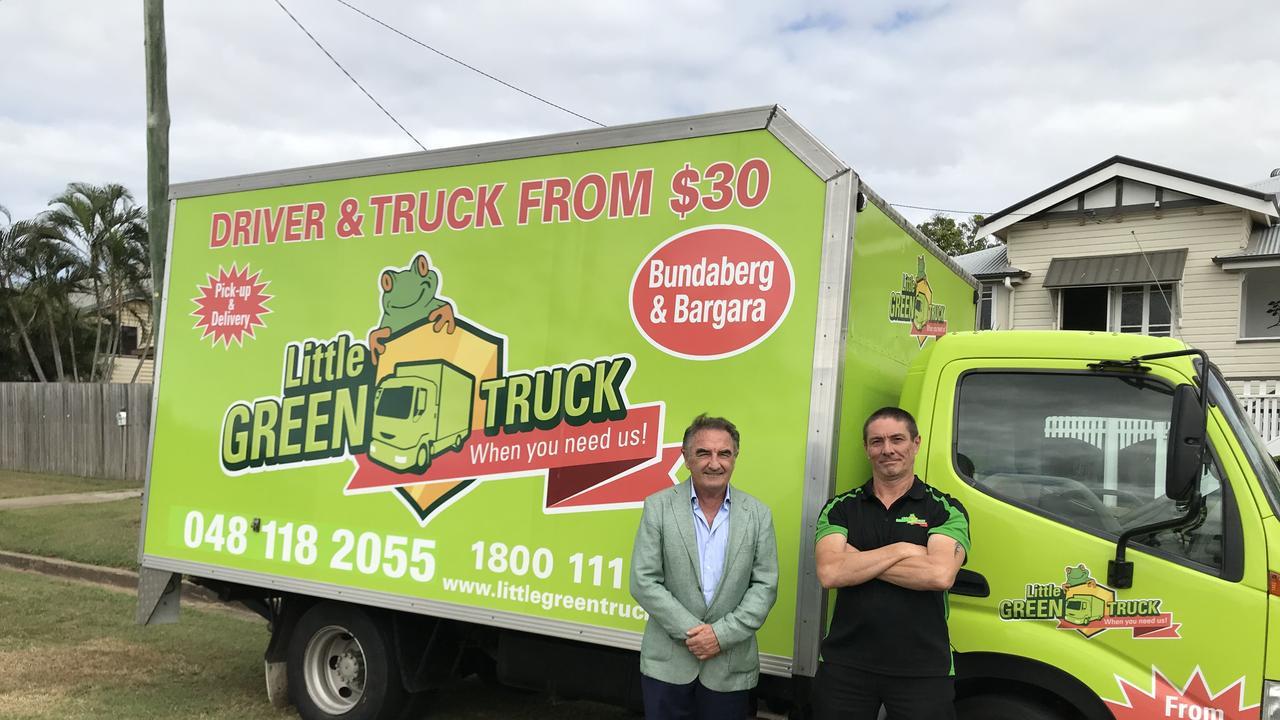 LITTLE GREEN TRUCK: CEO Mal Fittler and Bundaberg franchise owner Peter Robertson