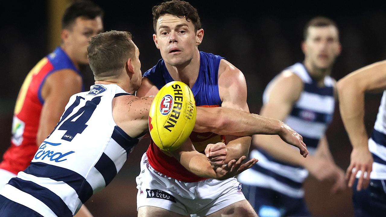 Lachie Neale had another fruitful night finding the footy — and kicked an incredible goal. Picture: Phil Hillyard