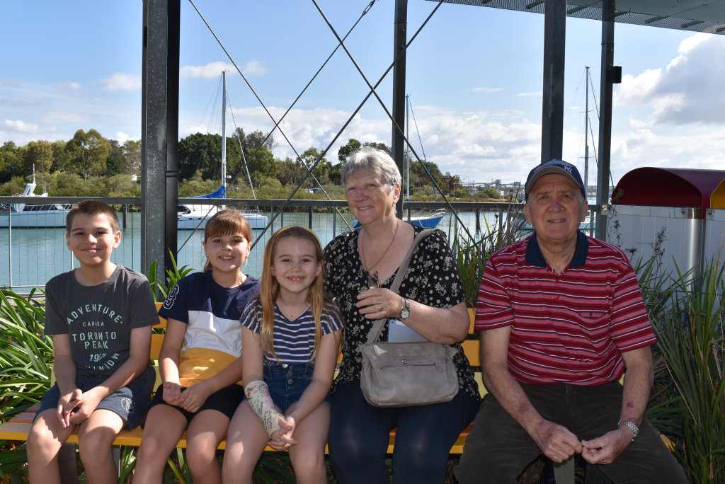 Image for sale: Rory Aitken, Bree Aitken and Marnie Aitken with grandparents Carol and Ian Aitken at East Shores on Saturday July 11, 2020.