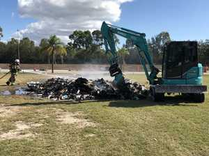 Rubbish explodes after catching fire in garbage truck