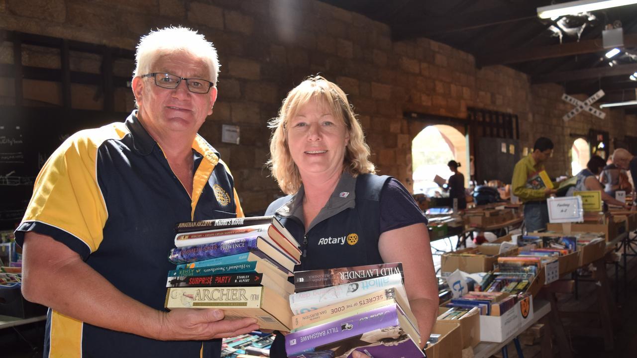 Warwick Rotary Club of Warwick Sunrise's David Kemp with Laureen Vanderwolf at the club's 2016 Big Book Sale.