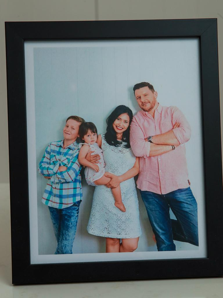 Manu Feildel framed with his family.