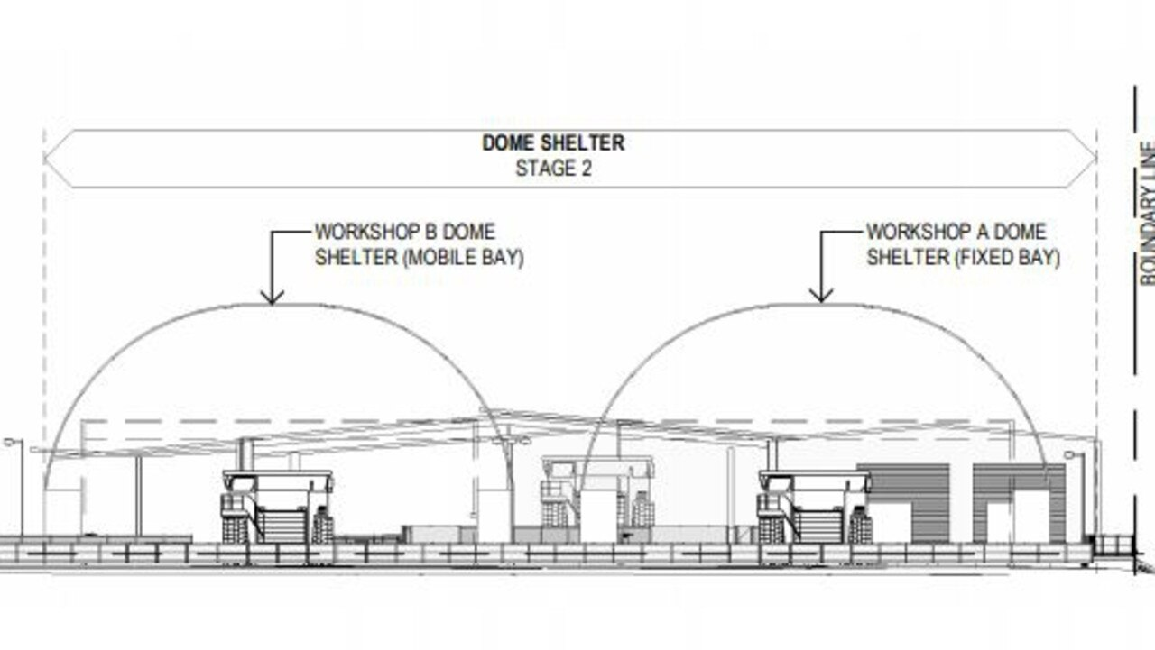 Plans for dome structures to house machinery at BHP's new training facility at Paget.