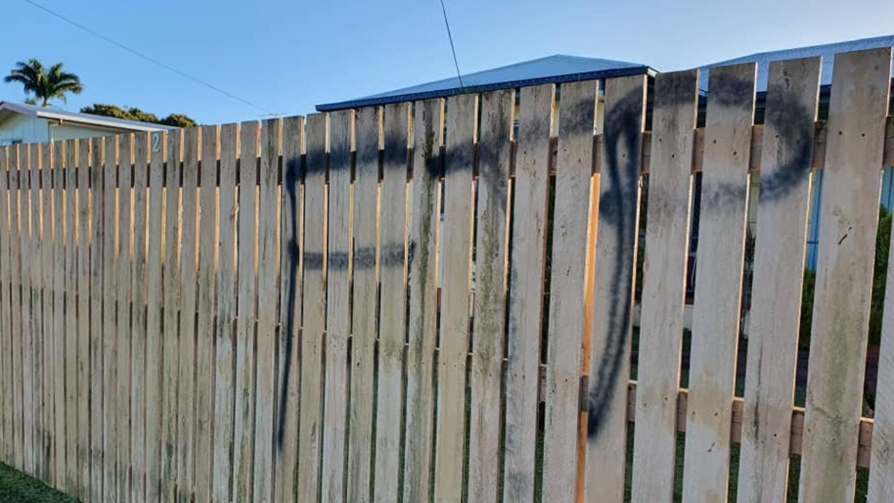 A rude message sprayed on a West Mackay property. Picture: Facebook