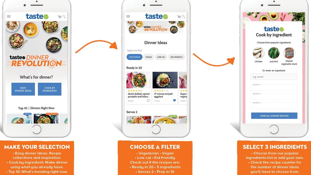 Taste.com.au website which finds you a recipe once you type in what ingredients you have at hand