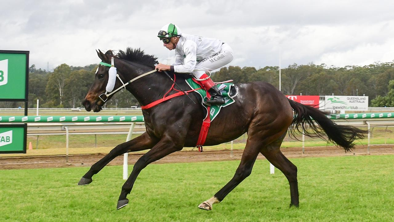 Jockey Michael Cahill rides Just Wishing to victory at Ipswich racetrack. PIcture: Trackside Photography