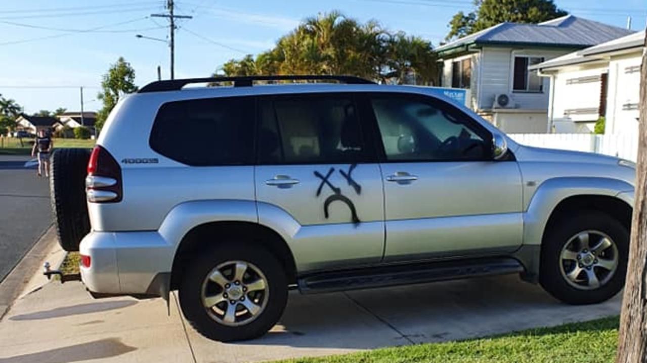 Graffiti scrawled on a car in West Mackay. Picture: Facebook