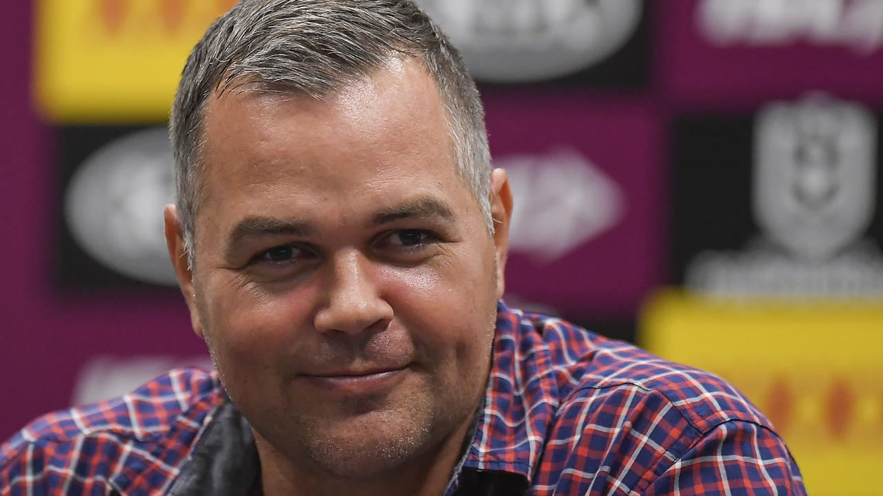 Broncos coach Anthony Seibold could afford a little smile after Brisbane ended their losing streak on Saturday night. Picture: Getty Images