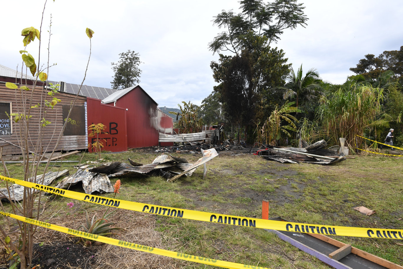 Fire destroyed a shed in Cullen St, Nimbin early Sunday morning. The structure was all that remained of the Nimbin Museum after a fire in 2014.