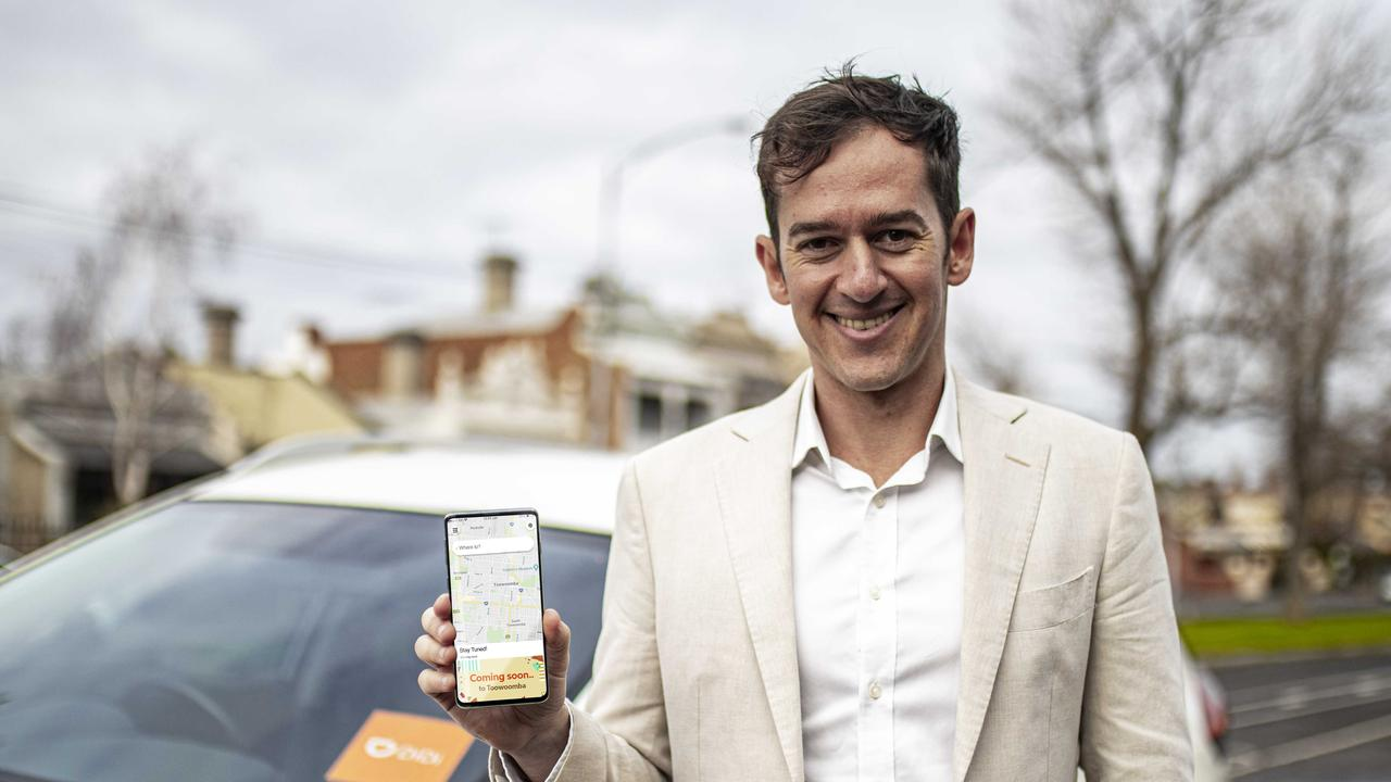 DiDi Australia's Dan Jordan with the company's rideshare app that will launch in Toowoomba on August 10.