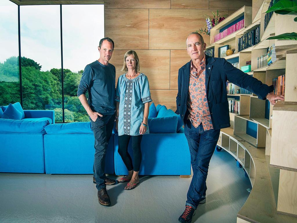 Grand Designs host Kevin McCloud with homeowners Harry and Bryony Anscombe.
