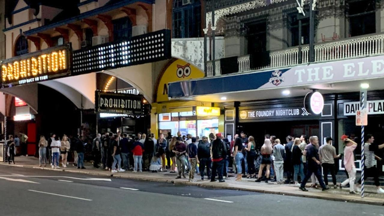 A queue outside Prohibition in the Valley. Picture: Supplied