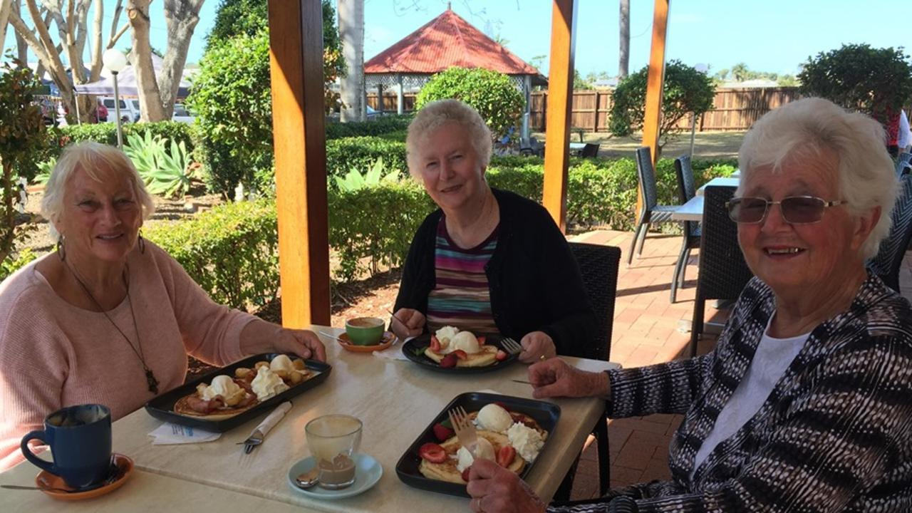 BRUNCH DATE: Val, Carmel and Amy enjoyed pancakes for breakfast at Turtle's Paradise Cafe. Picture: Rhylea Millar