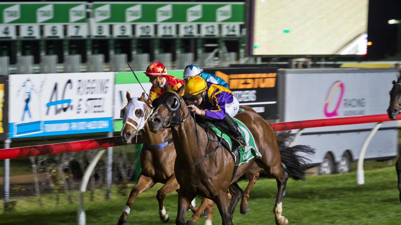 Jockey Nozi Tomizawa guides It's Thyme to win race one at Clifford Park. Picture: Kevin Farmer