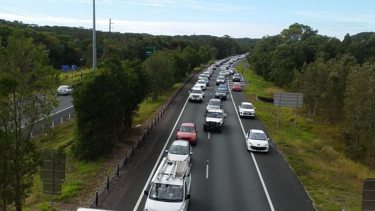 CONGESTION AHEAD: Traffic westbound on the Sunshine Motorway echoed similar reports across the state.