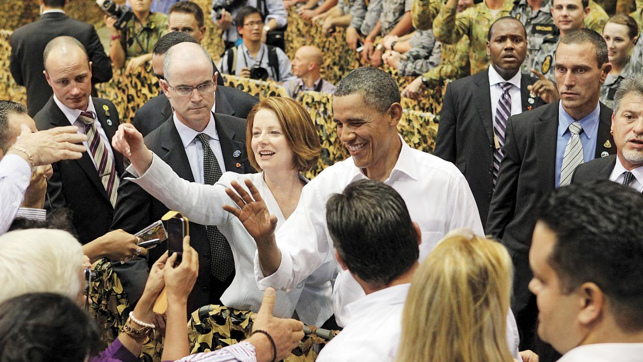 Julia Gillard with Barack Obama. (Picture: Supplied)