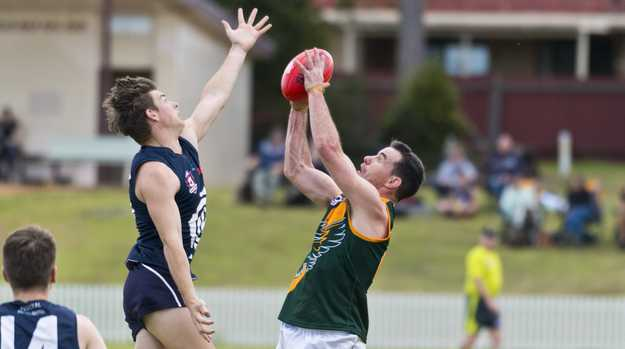 Harrison Copland (left) of Coolaroo and David O'Toole of Goondiwindi in AFL Darling Downs round one at Rockville Oval, Saturday, July 11, 2020. Picture: Kevin Farmer