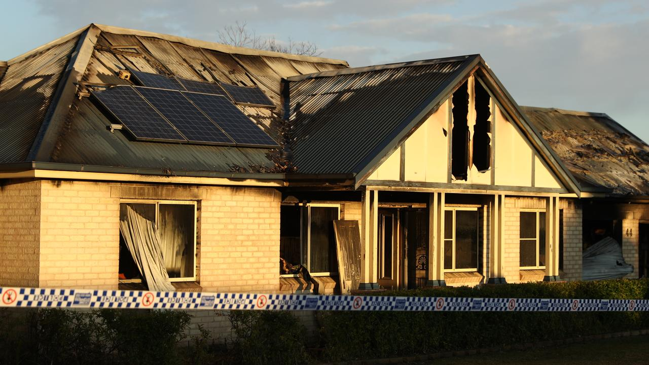 The charred remains of the home at Bargo. Picture: John Grainger