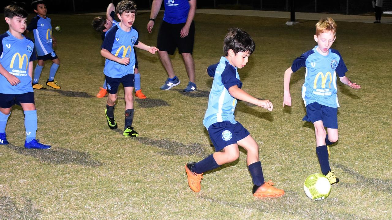 Players from the Springfield United Football Club's under-7 Power and Strikers teams enjoy training for the season resuming on Saturday. Picture: Gary Reid