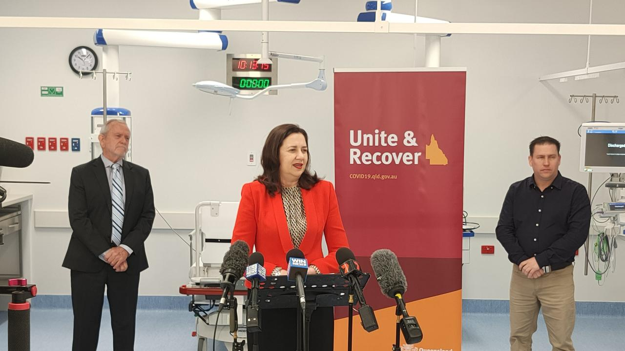 Queensland Premier Annastacia Palaszczuk discusses the current COVID-19 situation at Gladstone Hospital. Picture: Rodney Stevens