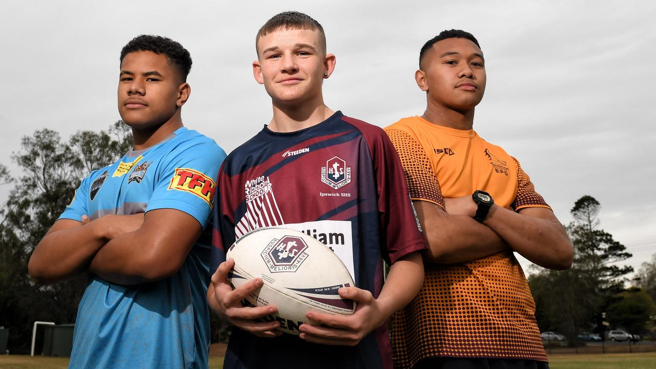 Josiah Pahulu, Thomas Luhrman and Kulikefu Finefeuiaki are among the talented Ipswich State High School students excelling in sport. Picture: Rob Williams