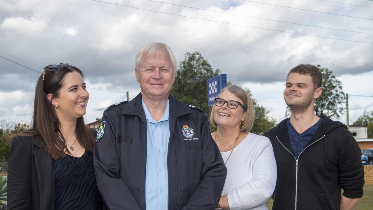 Courtney, Brad, Barbara and Brandon Smart, at the Gatton police station. PHOTO: ALI KUCHEL