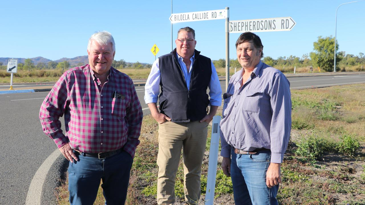 Member for Flynn Ken O'Dowd, Road Safety and Freight Transport Assistant Minister Scott Buchholz, and Banana Shire Council Mayor Neville Ferrier.