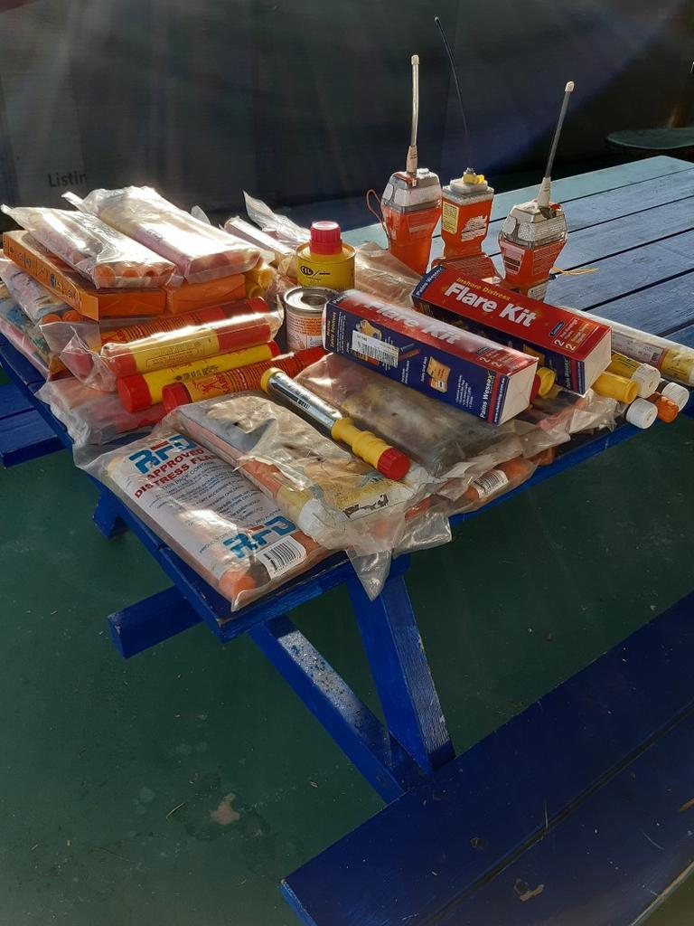 Flares and EPIRBS collected at Coast Guard Yeppoon over one week.