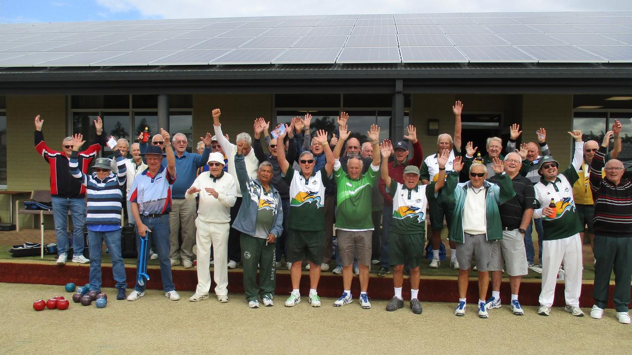 GRINS ON THE GREEN: The men of the Lennox Head Bowls Club were very happy to be back on the greens after the pandemic lockdown.