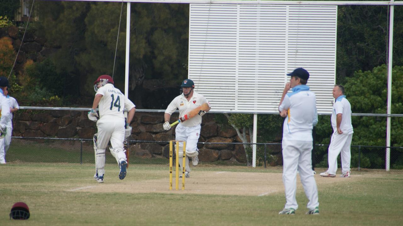 Lockyer batting partners Gary Copeland and Ian Sipple during their latest veterans cricket match against the Gold Coast.