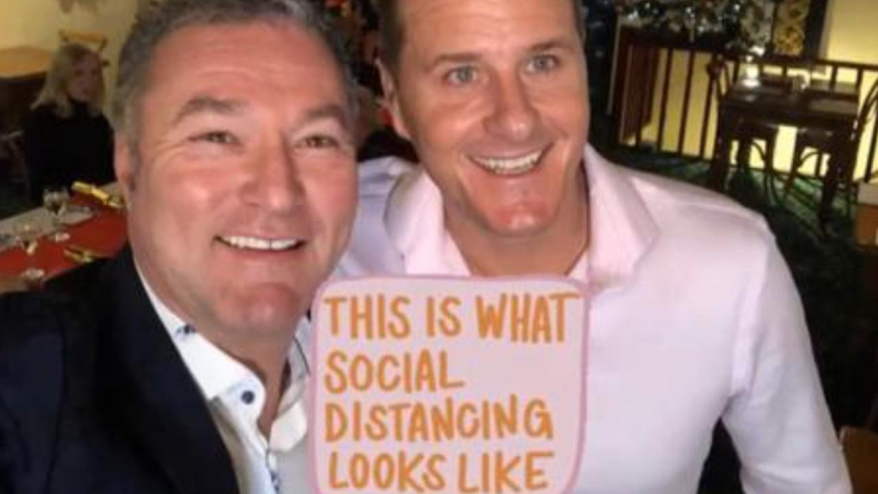 Surfers Paradise MP John-Paul Langbroek and radio identity Luke Bradnam in a photo uploaded to the politician's Instagram. Picture: Instagram Story