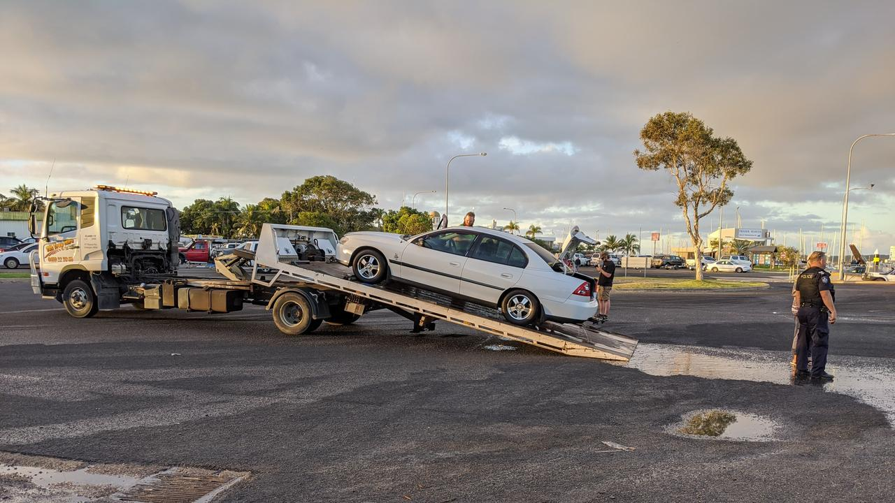 A car has rolled down the Urangan boat ramp into the ocean.
