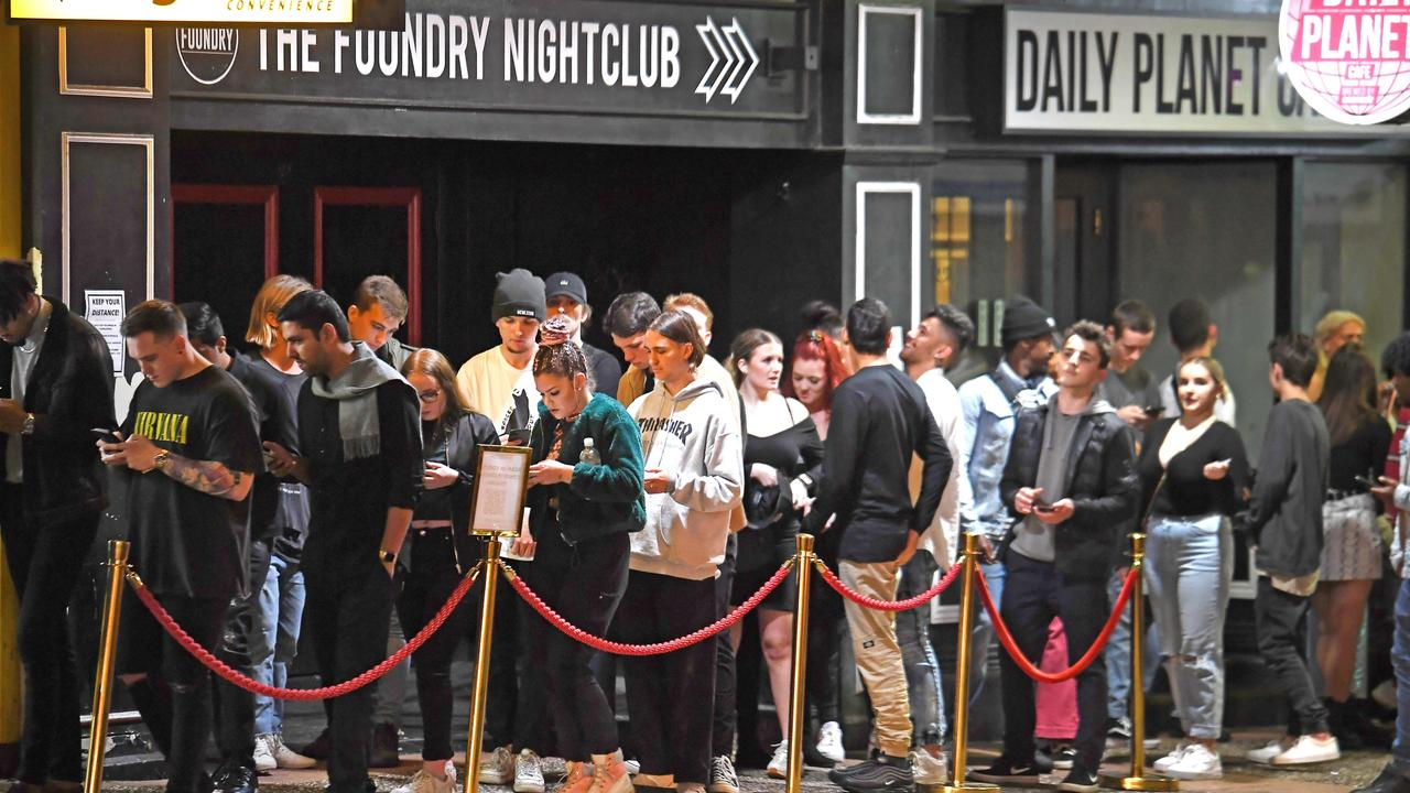 Big lines outside of Prohibition nightclub in Fortitude Valley on Friday night. Picture: John Gass)