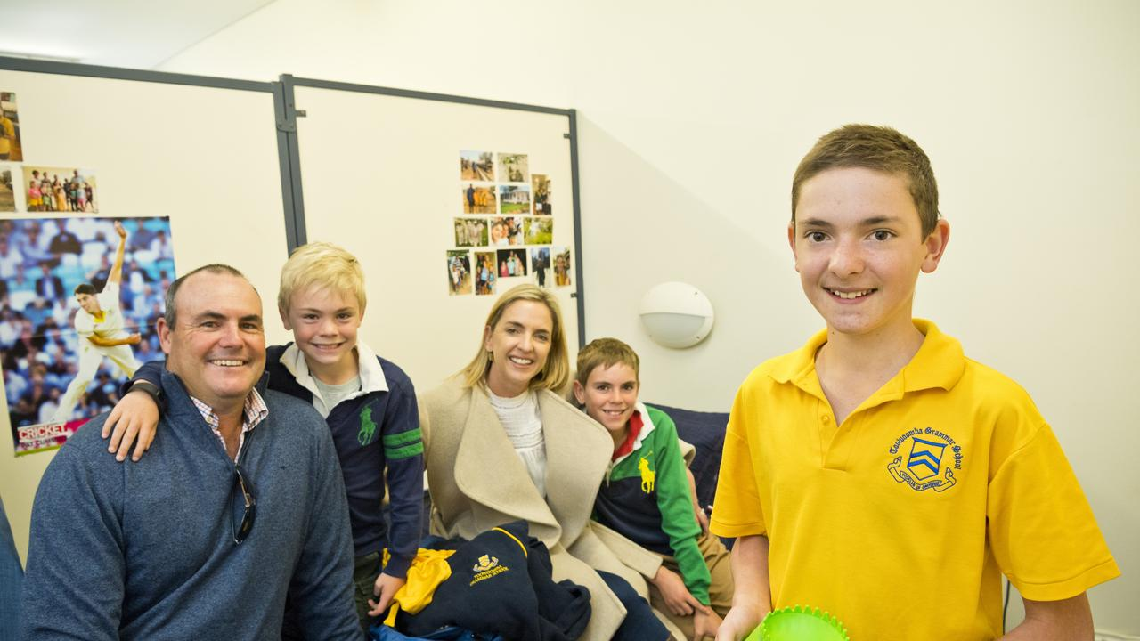 SETTLING IN: Toowoomba Grammar School boarder Harry Barwick (far right) returned to school with help from his family (from left) Sam, Hugo, Amanda and Max Barwick.