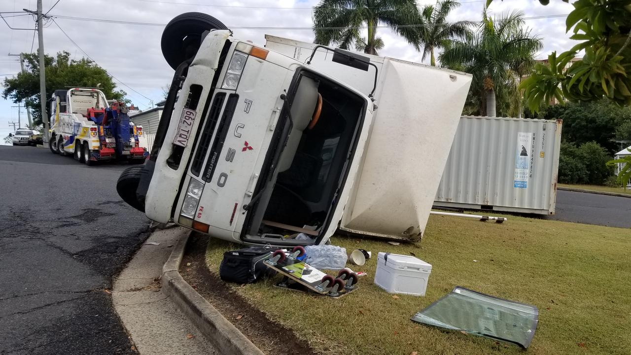The truck rollover on Agnes Street this morning.