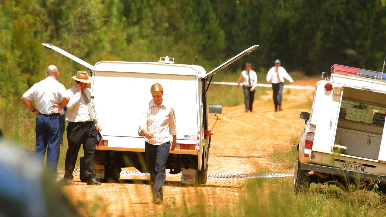 Police in forest near Beerburrum on Sunshine Coast where the body of Donald Rogers was found in March 2004.