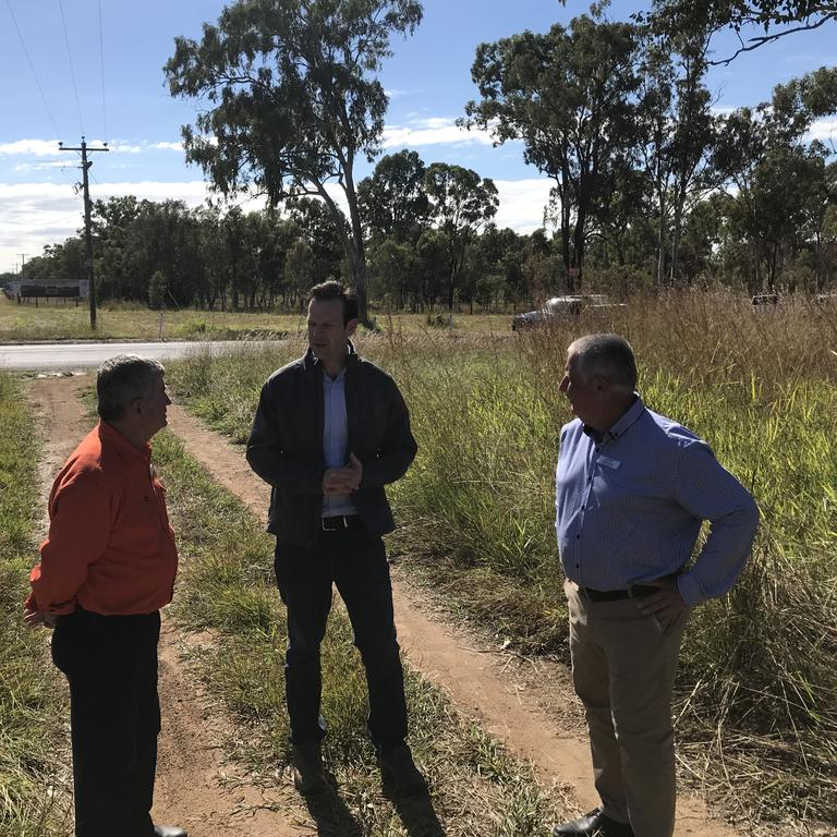 Senator Matt Canavan, Keppel LNP candidate Adrian DeGroot and Rockhampton LNP candidate Tony Hopkins fronted media this morning on the Artillery Rd Intersection
