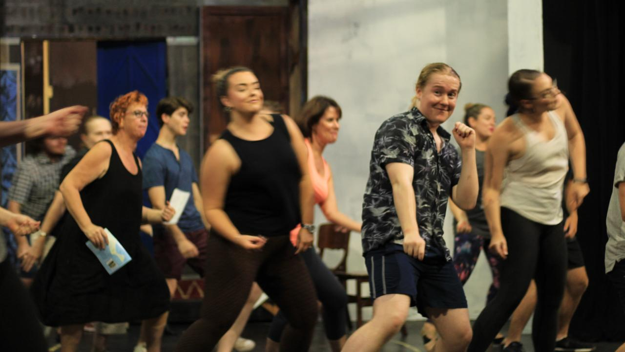 Bundaberg Playhouse Theatre's Mamma Mia cast in action during rehearsals before COVID-19 pandemic hit.