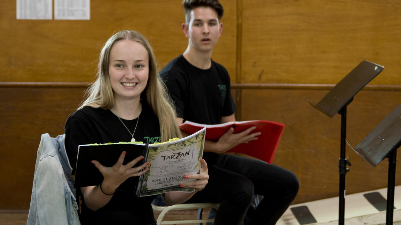 PRACTICE MAKES PERFECT: Toowoomba Choral Society youth choir members Lauren Baryla and Micah Adamson are preparing for their parts as Jane and Tarzan in the production.